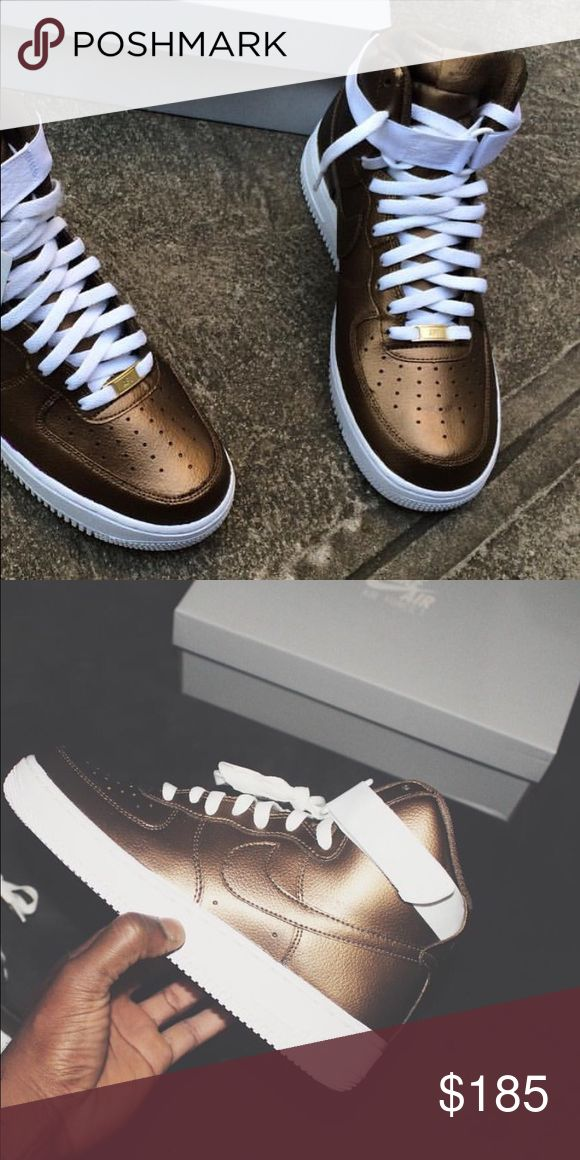 Nike Air Force One bronze *READ CAREFULLY* IF INTERESTED PLEASE ORDER FROM MY PERSONAL SNEAKER SITE! : gothedomo.bigcartel.com  Sizes 4-13 Available. Any questions/inquiries email or text me at: domoartbiz@gmail.com or 202-465-2863. Nike Shoes Sneakers