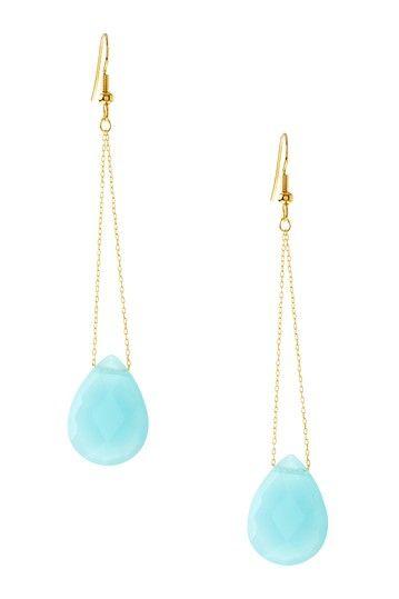 Aqua Agate Teardrop Earrings