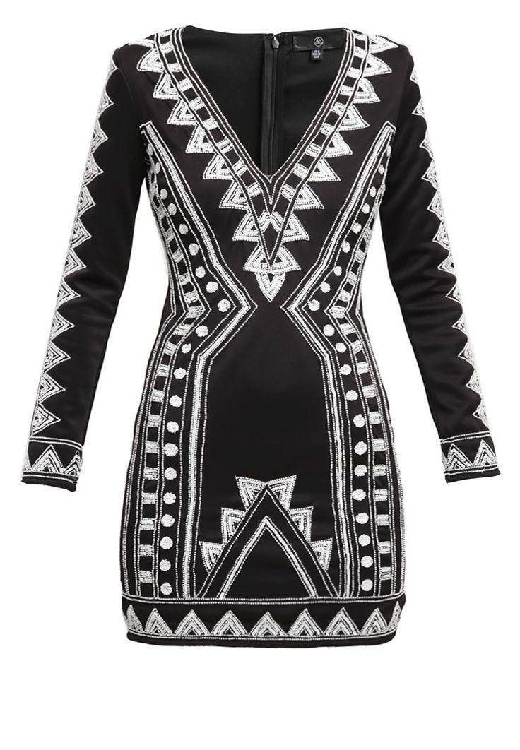 Missguided Sukienka koktajlowa black/white