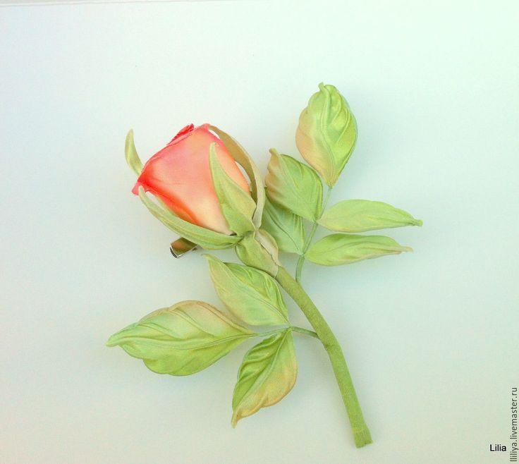 """Купить Цветы из шелка. Брошь роза """"Sweetness"""" - брошь ручной работы, Украшение ручной работы"""