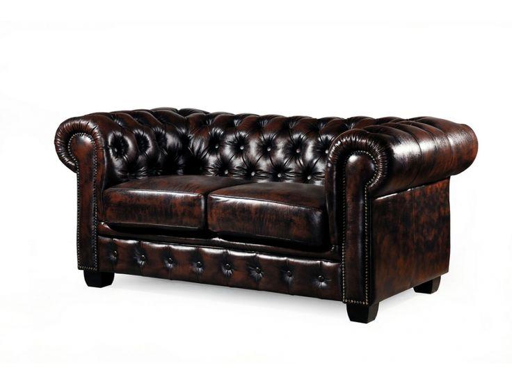 Chesterfield Ledersofa 2 Sitzer Brenton   Vintage Leder   Braun