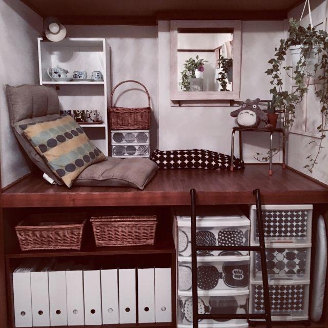 saokoさんの、ベッド周り,DIY,団地インテリア,ニトリ,北欧,観葉植物,IKEA,押入れ,押入れリメイク,DVD鑑賞,サボテン,大人だって押入れ入ってみたい,モノクロマリメッコ,のお部屋写真