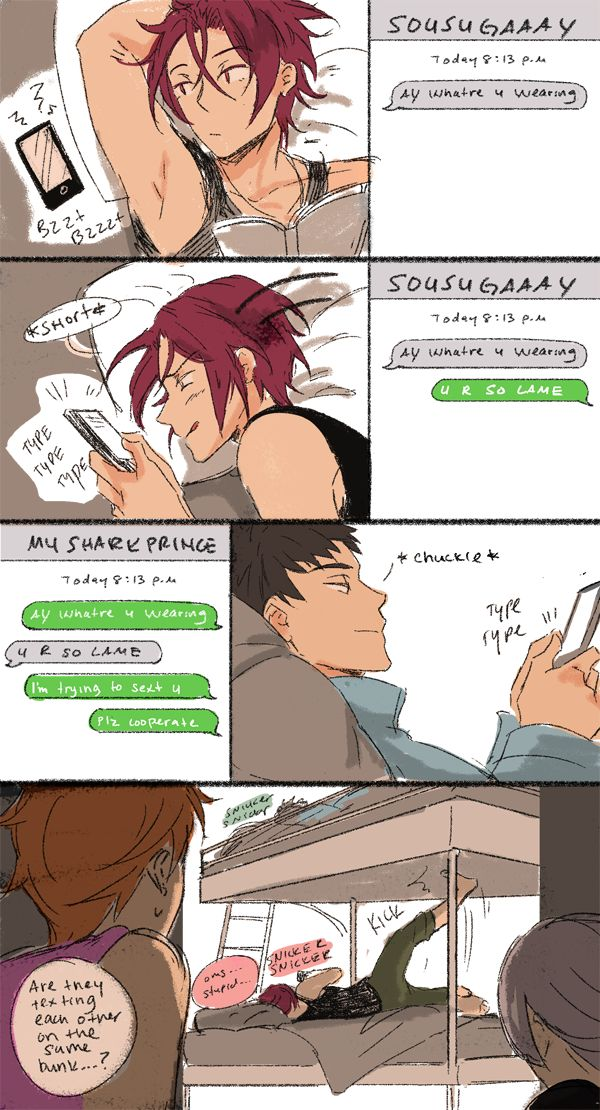 Texting ... From rocket ...  Free! - Iwatobi Swim Club, sousuke yamazaki, sousuke, yamazaki, free!, iwatobi, rin matsuoka, matsuoka, rin, nitori, aiichiro nitori, aiichiro, mikoshiba, momotaro, momotarou, momotarou mikoshiba, momotaro mikoshiba