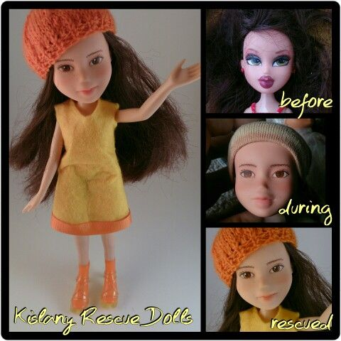 Sunshine repaint handmade clothes and beanie,  recycled shoes. Ooak, upcycled made-under repaint.  Was a bratz,  now a Kislany Rescue Doll