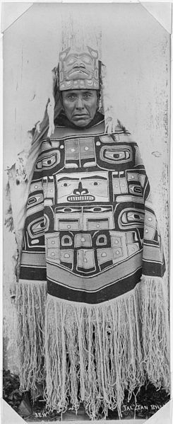 """Tal-tan Billy."" Indian shaman of the North Pacific Coast (Alaska) in ceremonial dress.....potlatch dancer wearing a Chilkat robe and frontlet.....photo by Sir Henry S. Wellcome, (Henry Solomon), 1853-1936"