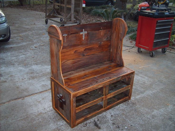 Church Pew Bench With Shelfs Steve 39 S Birdhouse Board Pinterest Church Pew Bench Antique