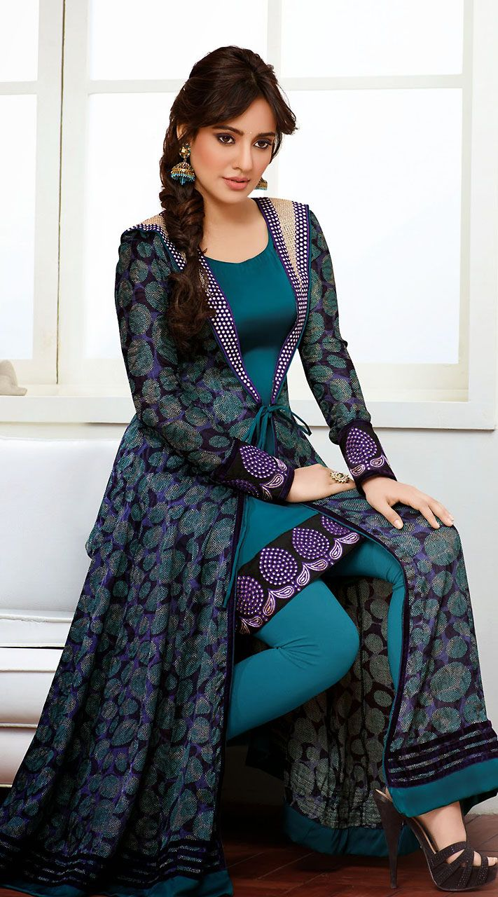 Neha Sharma Teal Blue Bollywood Salwar Kameez FD3625490