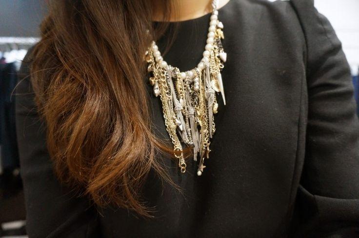 zara, dailylook, necklace, fashion, black dress, bold accessory