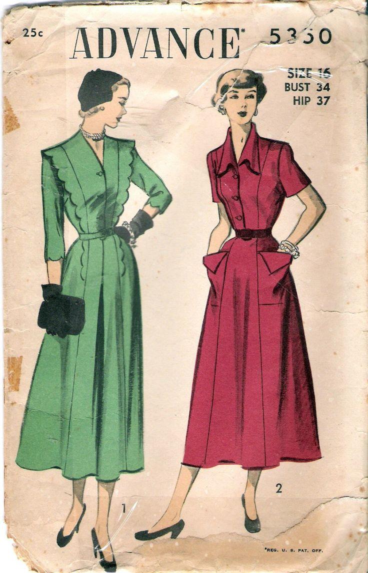 """Advance 5350 vestito di d'epoca 1940 con scollatura interesse in due stili cucire modello taglia 16 busto 34"""" di Recycledelic1 su Etsy https://www.etsy.com/it/listing/204497772/advance-5350-vestito-di-depoca-1940-con"""