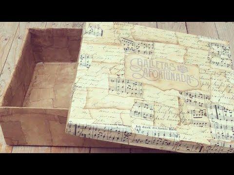 Caja de cartón decorada con papel envejecido - YouTube