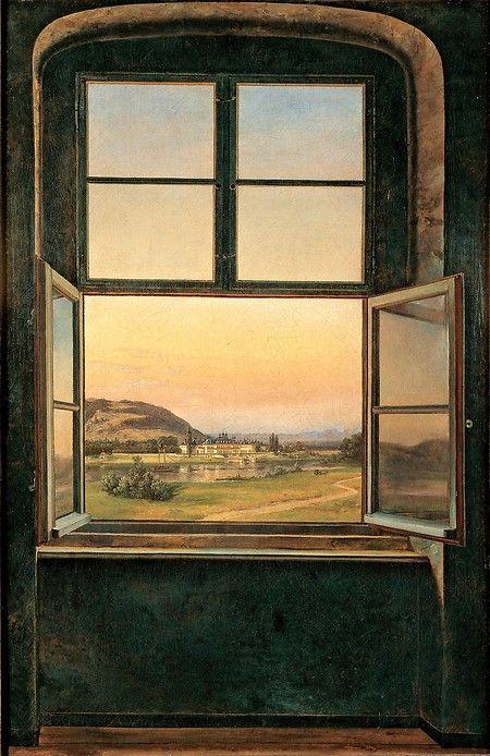 Johan Christian Dahl (Norwegian, 1788–1857) - View of Pillnitz Castle, 1823 - Oil on canvas - Museum Folkwang, Essen