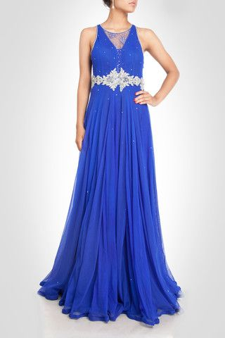 Royal Blue color Gown – Panache Haute Couture http://panachehautecouture.co.in/collections/gowns/products/red-color-bridal-gown