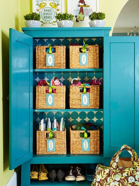 organizing tips-loving the cabinet with baskets inside. Reminds me of the one I refurbished for our kitchen..