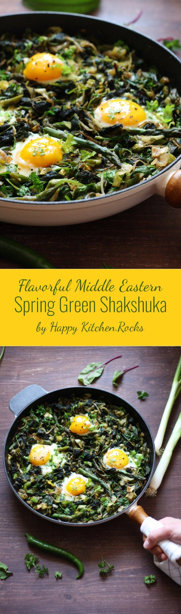 Spring Green Shakshuka is a versatile gluten-free vegetarian one-pot breakfast (or dinner) meal packed with nutrients and vitamins! Recipe ready in less than 30 minutes.