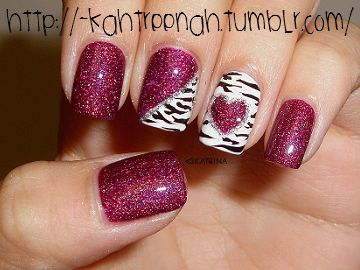 Heart Nails, Pink Zebra, Nails Art, Nails Design, Pink Nails, Valentine Nails, Zebras Prints, Zebras Nails, Pink Glitter