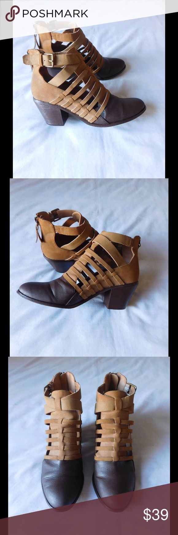 Chic Tan/Brown Strappy Heeled Booties  W/Buckles Almost New. This pair of booties are amazing and adorable. Soft and comfy material. Gorgeous colors and exclusive style. Customize brown color. Size 9.0 - Negotiable Price. G by Guess Shoes Ankle Boots & Booties