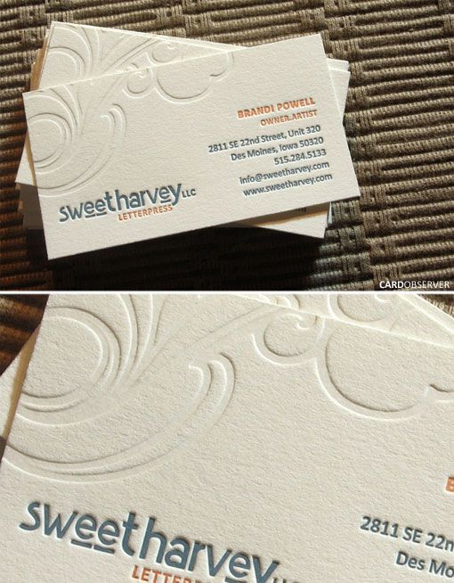 137 best business cards letterpressed or debossed images on a beautiful letterpressed business card for sweet harvey a letterpress and illustration company colourmoves