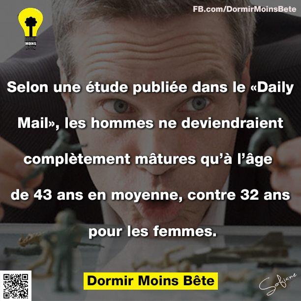 """Selon une étude publiée dans le """" Daily Mail"""" les hommes ne deviendraient complètement matures qu'à l'âge de 43 ans en moyenne, contre 32 ans pour les femmes."""
