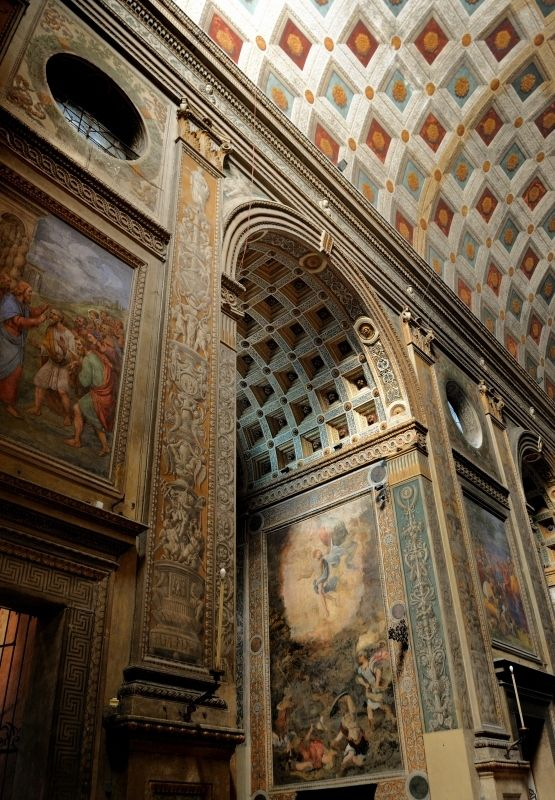 Sant' Andrea - detail interior - Mantova (Mantua) Italy. Alberti most likely wanted a coffered ceiling but a lack of funds meant the coffering was painted instead. construction began 1462