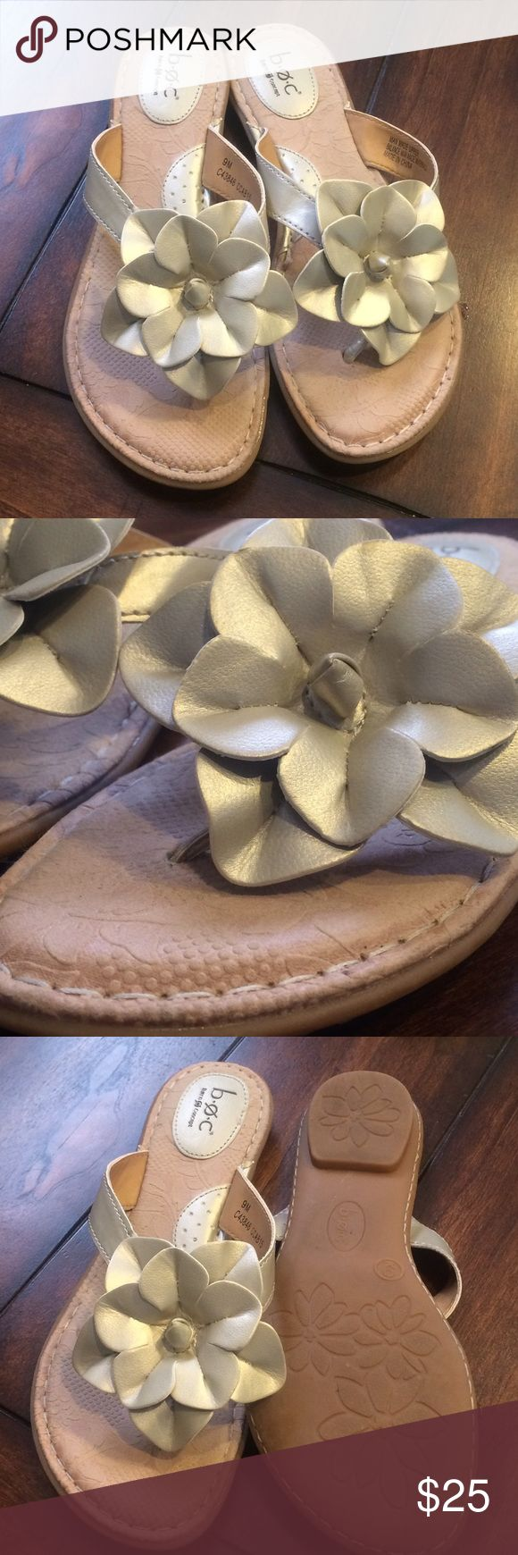 B.o.c. Cream flower flip flop These are super comfy and such a great color because they go with anything! A must need for summer exploring.  🌳🌼 Born Shoes Sandals