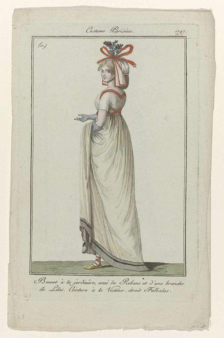 Journal des Dames et des Modes, Costume Parisien, 17 novembre 1797, (11) : Bonnet à la jardinière,..., Anonymous, 1797