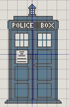 Buzy Bobbins: Tardis - Doctor Who cross stitch design