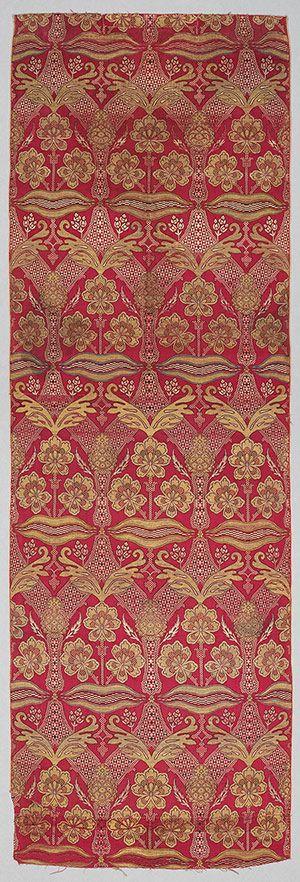 Loom width with floral and tiger-stripe design, 16 c. [Ottoman Turkey, Bursa] (44.41.3)