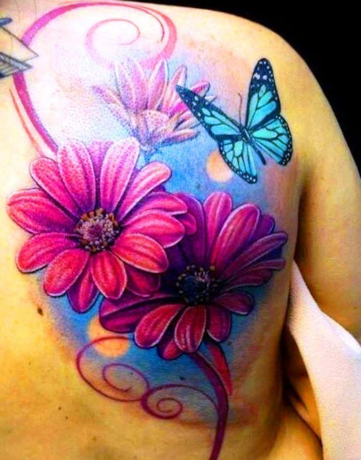 Butterfly and Daisy Flower Tattoos on Back