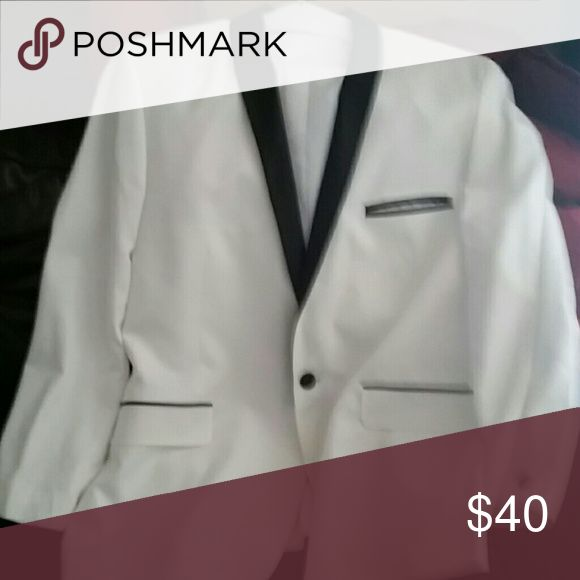 White/black suit jacket...worn once to take pics Suit jacket, great for formal events Jackets & Coats