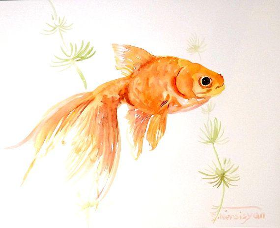 goldfish original watercolor painting 8 X 10 by ORIGINALONLY, $22.00