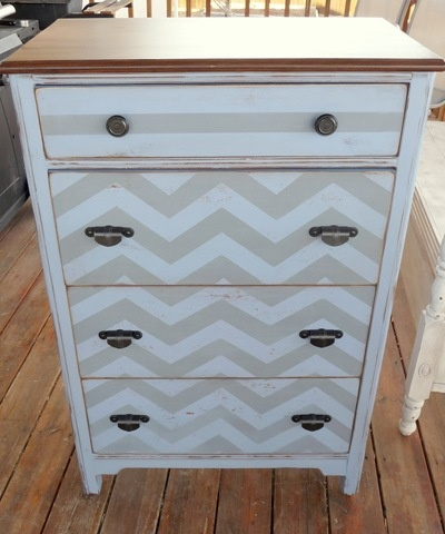 Doing this to update my white furniture set. Chevron dresser seen on twice lovely