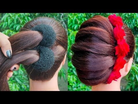 Lovely Bun Coiffure For Wedding ceremony And Get together || Bridal Coiffure || Simple hairst…