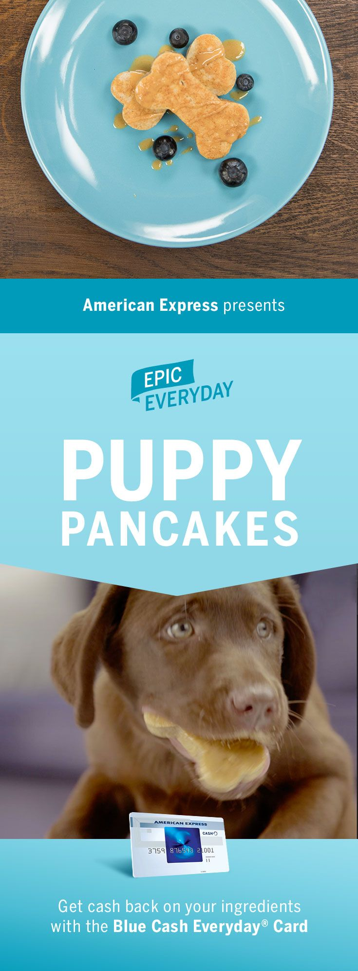 Make your puppy's breakfast epic! We partnered with Buzzfeed for these Puppy Pancakes! Making this homemade dog food is easy. Just place the batter in molds (shaped like dog bones) and drizzle with natural peanut butter and coconut oil. Shop for this recipe and get 3% cash back at US supermarkets on up to $6,000 in purchases with the Blue Cash Everyday Card from American Express. Terms apply. Learn more at americanexpress.com/epiceveryday. Click the pin to get the full recipe and more.