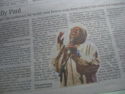 BILLY PAUL.Singer.Times Obituary.(Me and Mrs Jones) UK cutting/clipping 26.4.16