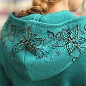 """Одежда ручной работы. Ярмарка Мастеров - ручная работа Вязаное пальто """"Королевская накидка в цвете-голубая ель"""". Handmade."""