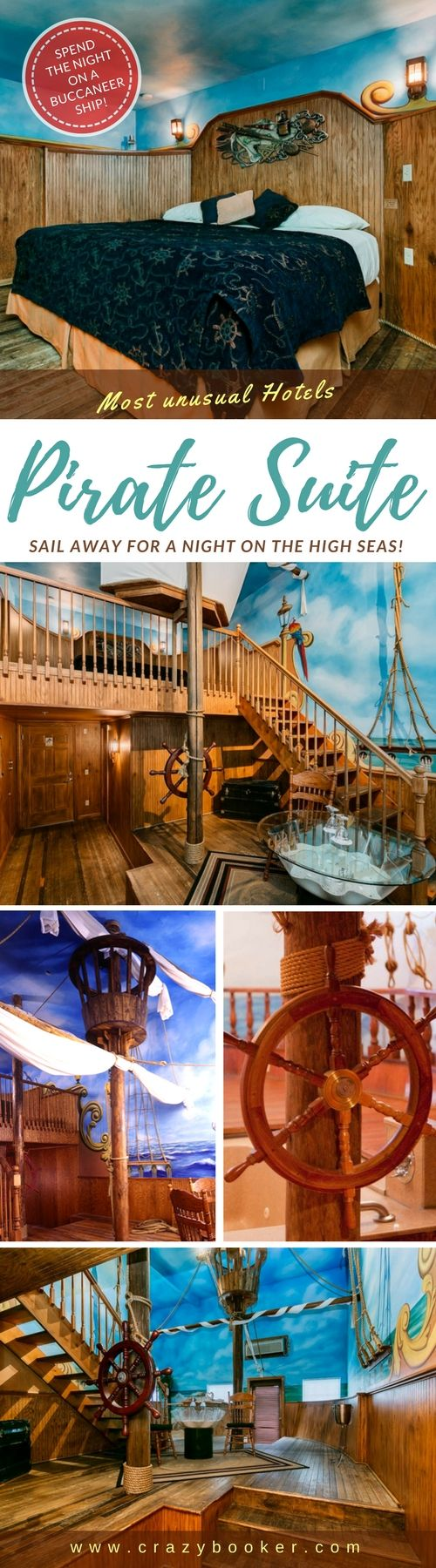 "Unique Pirates Suite in Utah #unitedstates | This #Pirate themed hotel room features many ""treasures"" just for the recruited guests! Step onto the deck of this vast buccaneer #ship and you will feel like you're taking off on an stimulating adventure on the high seas. The captain's quarters include a king-size bed, DVD player, and a 42"" TV. Make sure you march down the stairs and walk the plank to a private Love island. A jetted tub and a coconut shower are just the thing to relax your sea…"