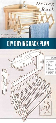 DIY How To Build a Drying Rack - A wall mounted drying Rack in 10 Easy Steps - great for shop towels too.