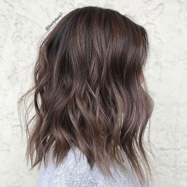 Love these babylights in ash brown hair. #haircolor #bob #longbob