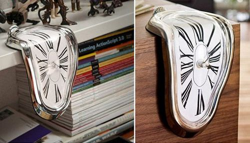 12.3 Melting Clock: часы в стиле картины Сальвадора Дали: мягкое, плавное, растякающееся, совсем не сопоставимо с традиционной формой...как будто бы бесконечное во времени