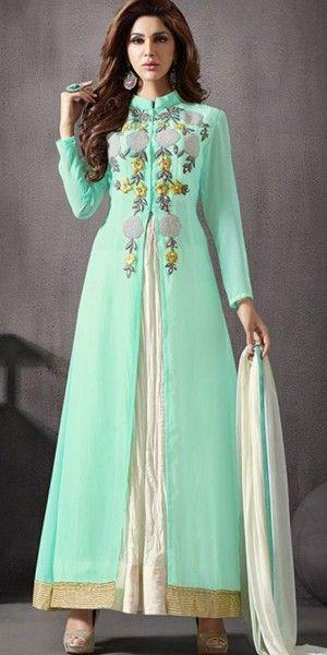 Quixotic Green Silk Anarkali Suit With Dupatta.