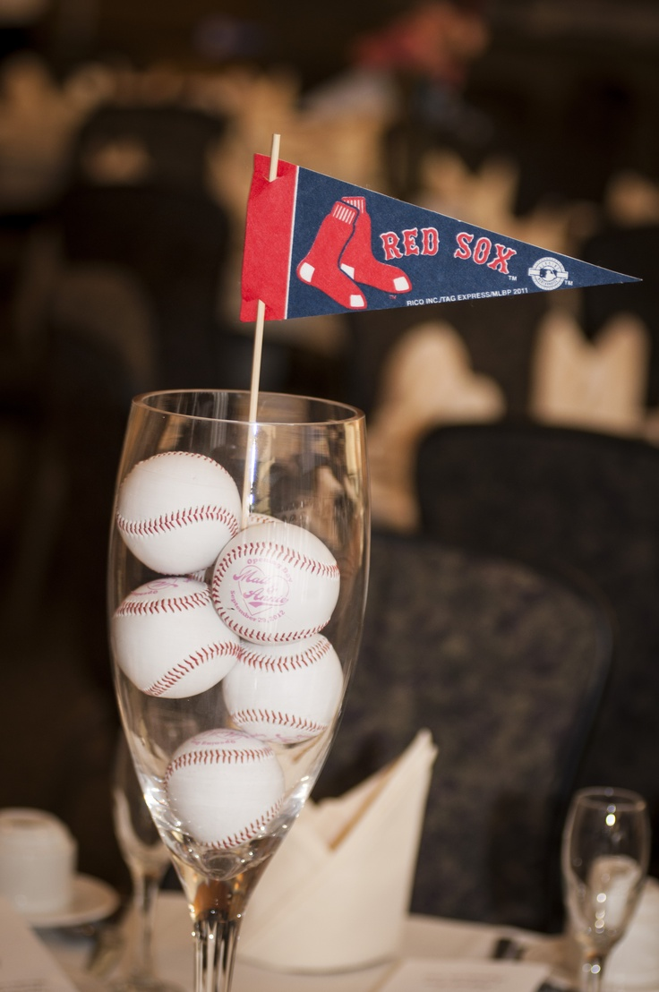 Centerpiece. With those little chocolate candies covered in baseball wrapping and all the teams flags on each table.