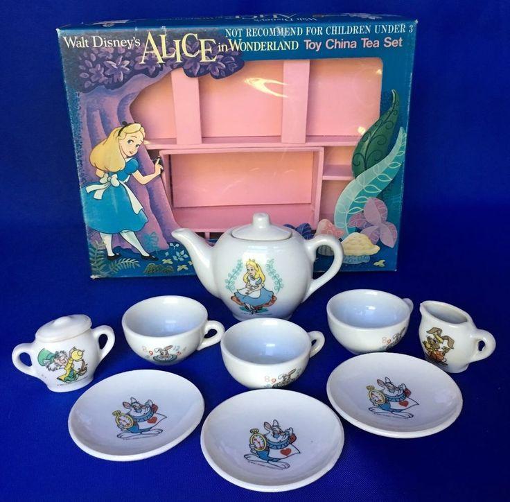 Vintage Walt Disney's Alice In Wonderland Child's Tea Set Glazed Ceramic #Disney