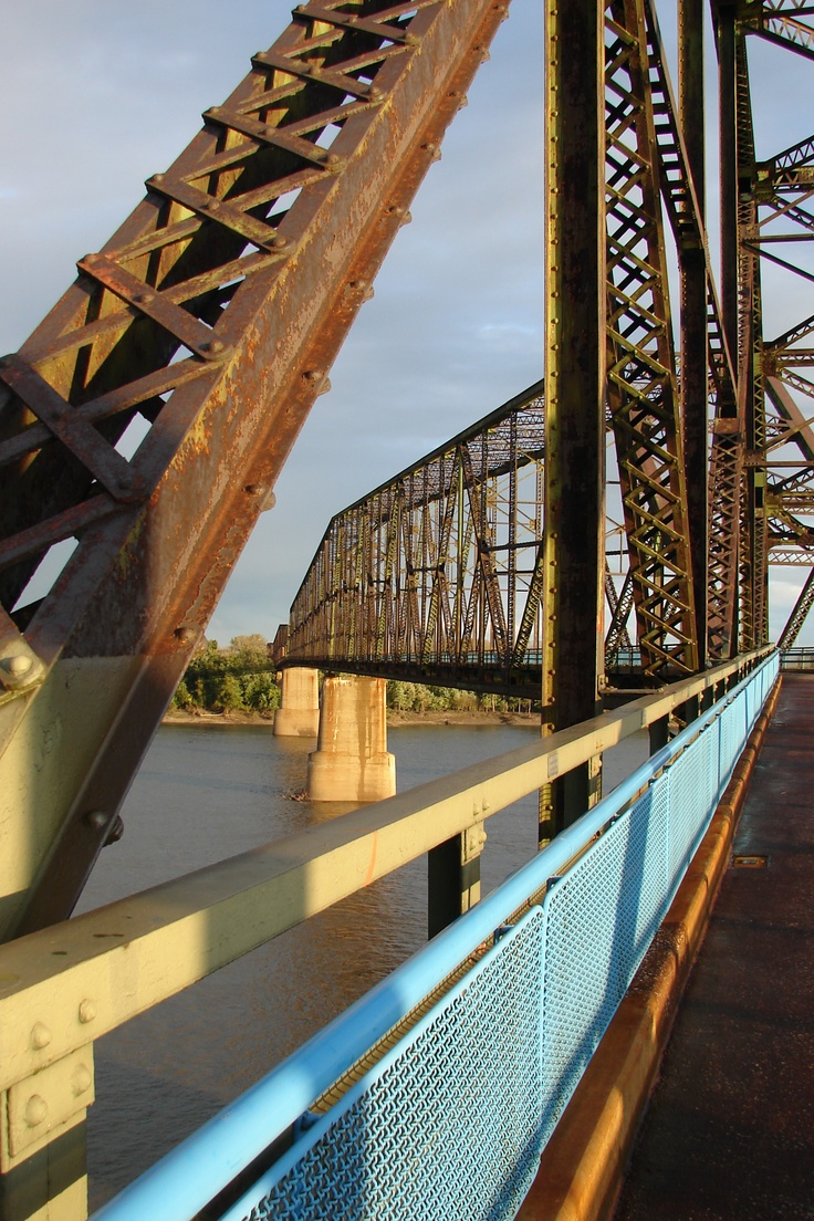 Chain of Rocks Bridge, Route 66, spanning the Mississippi River between East St. Louis IL and St. Louis MO
