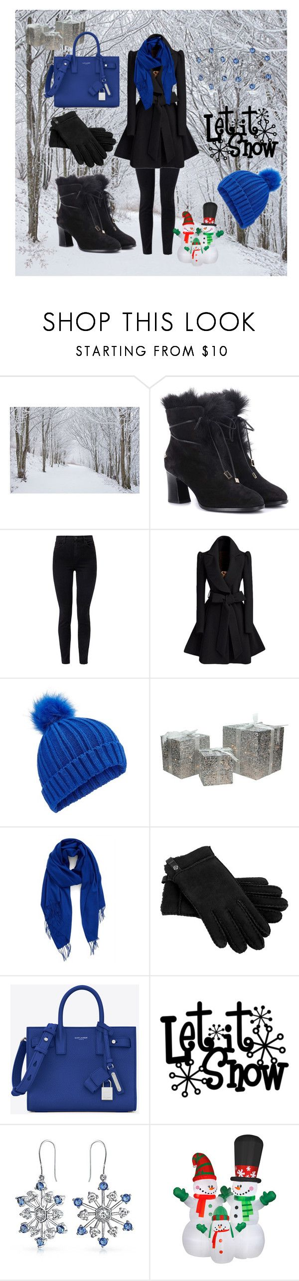 """""""Let it snow"""" by cecilvenekamp ❤ liked on Polyvore featuring J Brand, Miss Selfridge, Northlight Homestore, Nordstrom, UGG, Yves Saint Laurent, Bling Jewelry and National Tree Company"""
