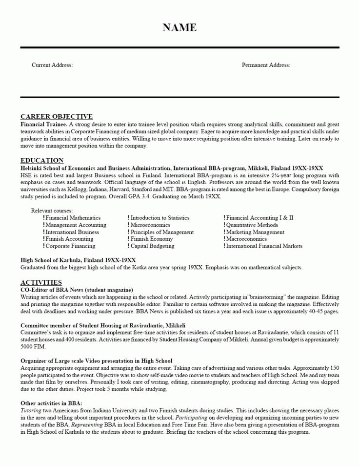 15 best Sample Resumes images on Pinterest Sample resume, Resume - cv format for a teacher