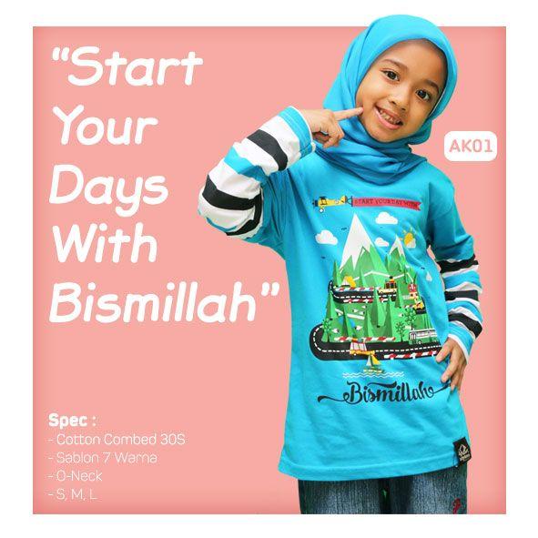 Kaos Anak Muslim Bilhikma AK01 Tema : Start Your Days With Bismillah