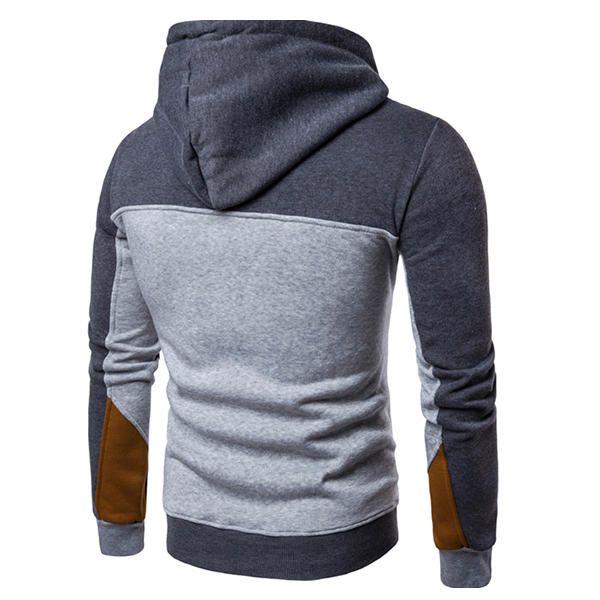 Men's Casual Hit Color Hooded Sweater Fashion Half Zip Hoodie Sweatshirt at Banggood  men fashion