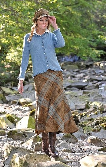 Tweed Pure wool Bias Cut Skirt in tan and duck egg from House of Bruar. £110