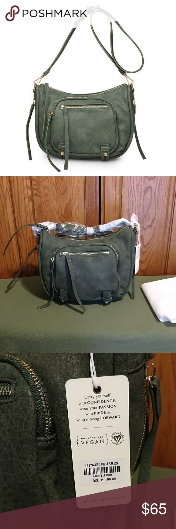 """Urban Expressions Vegan Crossbody Single detachable, adjustable crossbody strap. Zip too closure. Exterior features 2 front zip pockets and bottom zip extension. Interior features 1 zip wall pocket and 2 media pockets. Includes dust bag. 8h x 11w x 5 D. Strap drop 21""""-26"""". NWT color is olive. Beautiful soft bag. Urban Expressions Bags"""