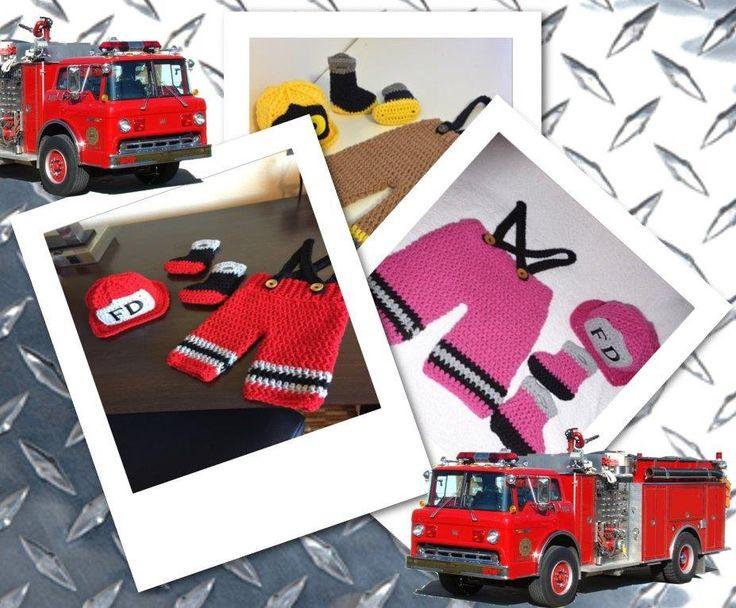 Crochet - Newborn - Photography Prop - Fireman - Fire Fighter - FireFighter Baby by PitterPatterWares on Etsy
